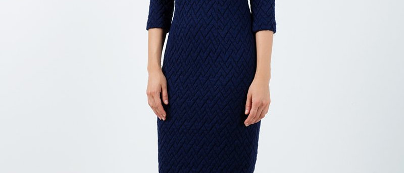Black Fitted Jacquard Dress