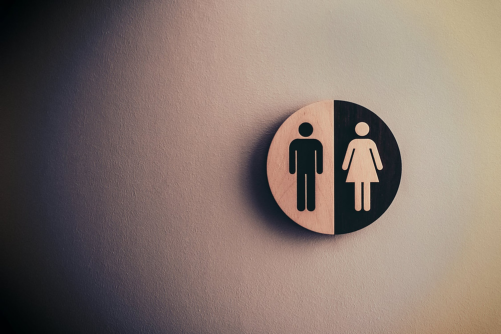 male and female bathroom label in wood