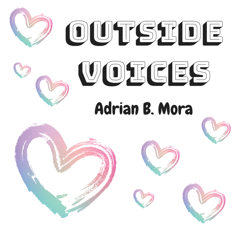 outside voices text with rainbow heart icons