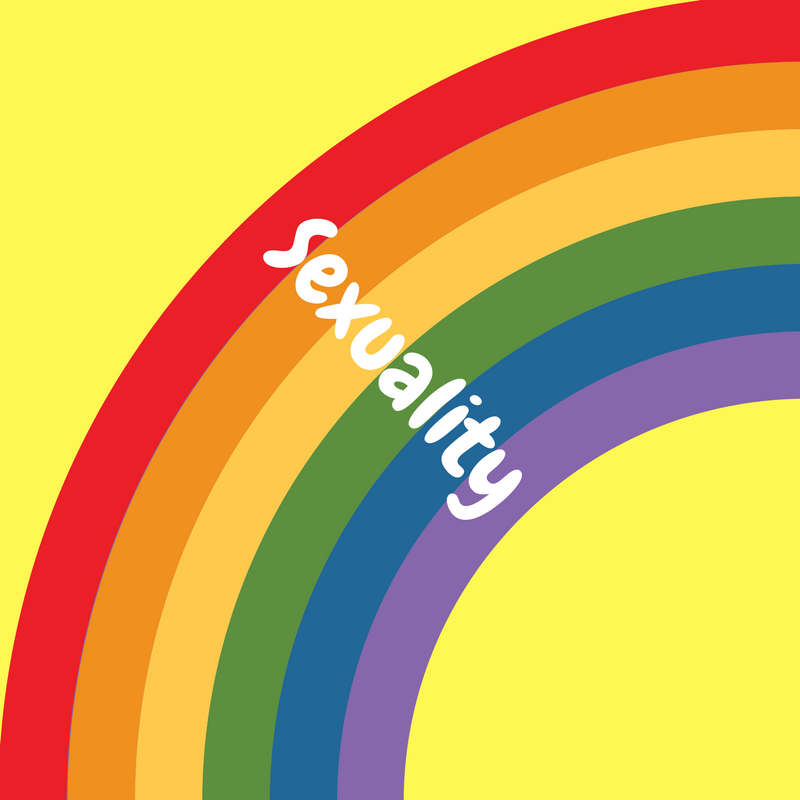 rainbow graphic with sexuality text