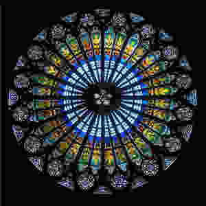 multi-colored stained glass circular window