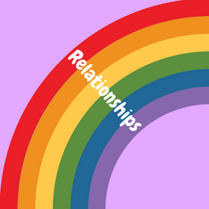 rainbow graphic with relationships text