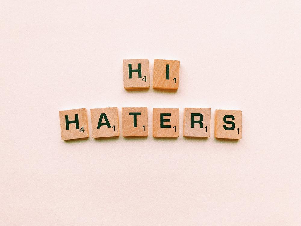 hi haters text in scrabble tiles