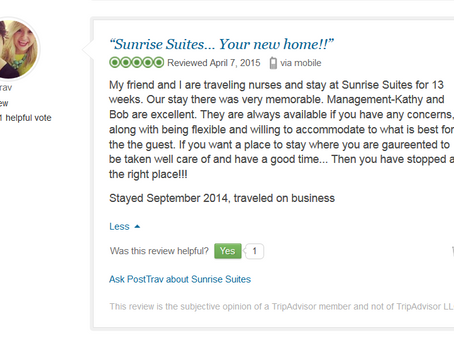 Review from two beautiful Traveling Nurses on TripAdvisor