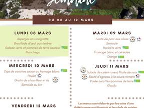 Menus des cantines de Mars
