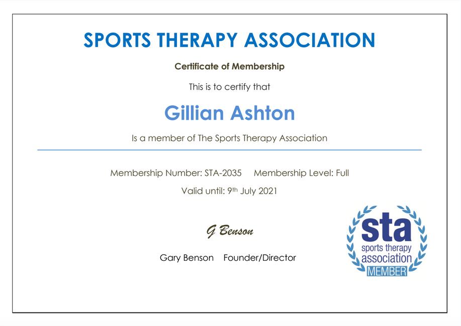 STA Member Certificate