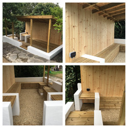 Sheltered outdoor seating area