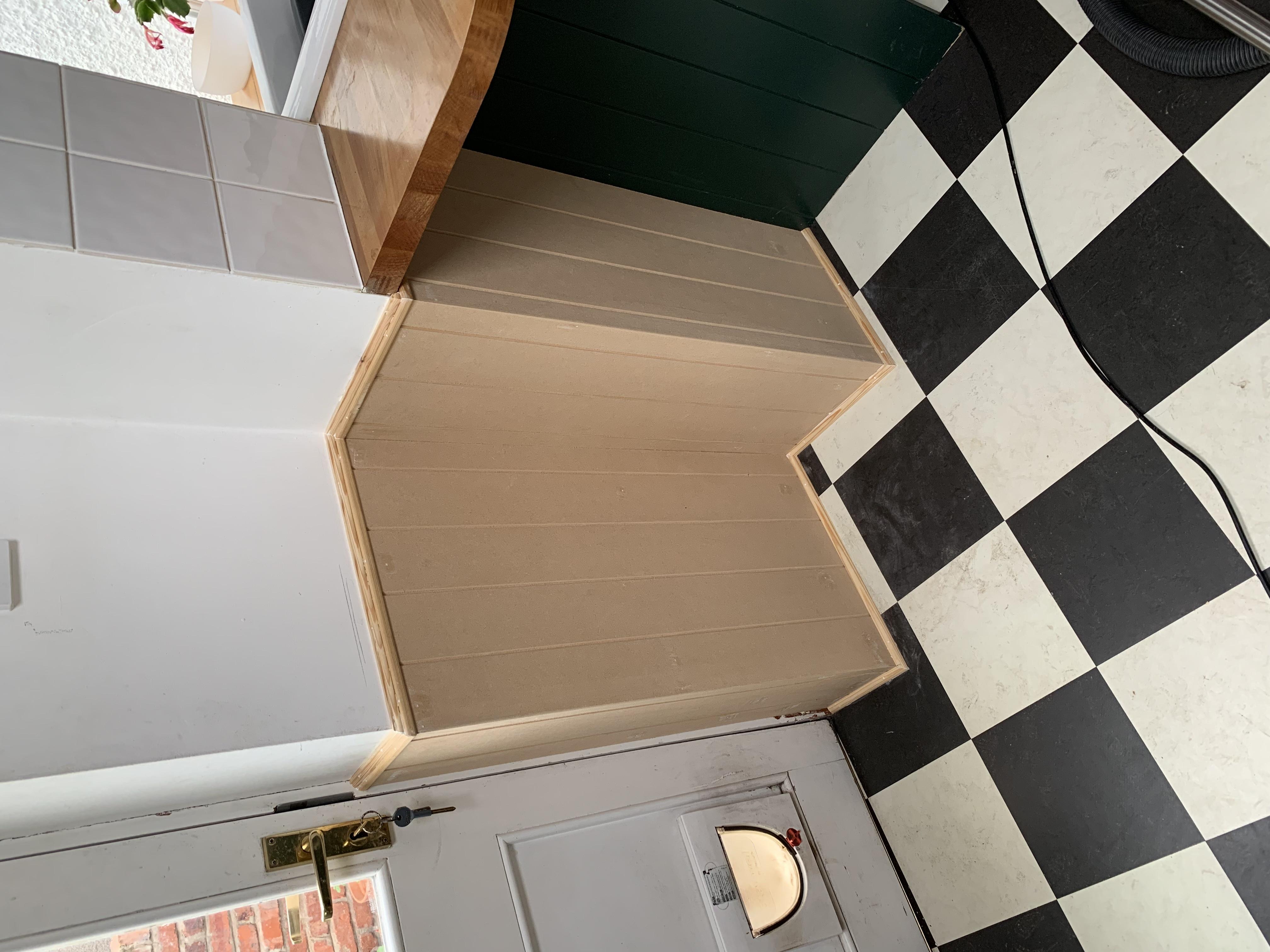 V-grooved MDF to match existing kitchen end panels