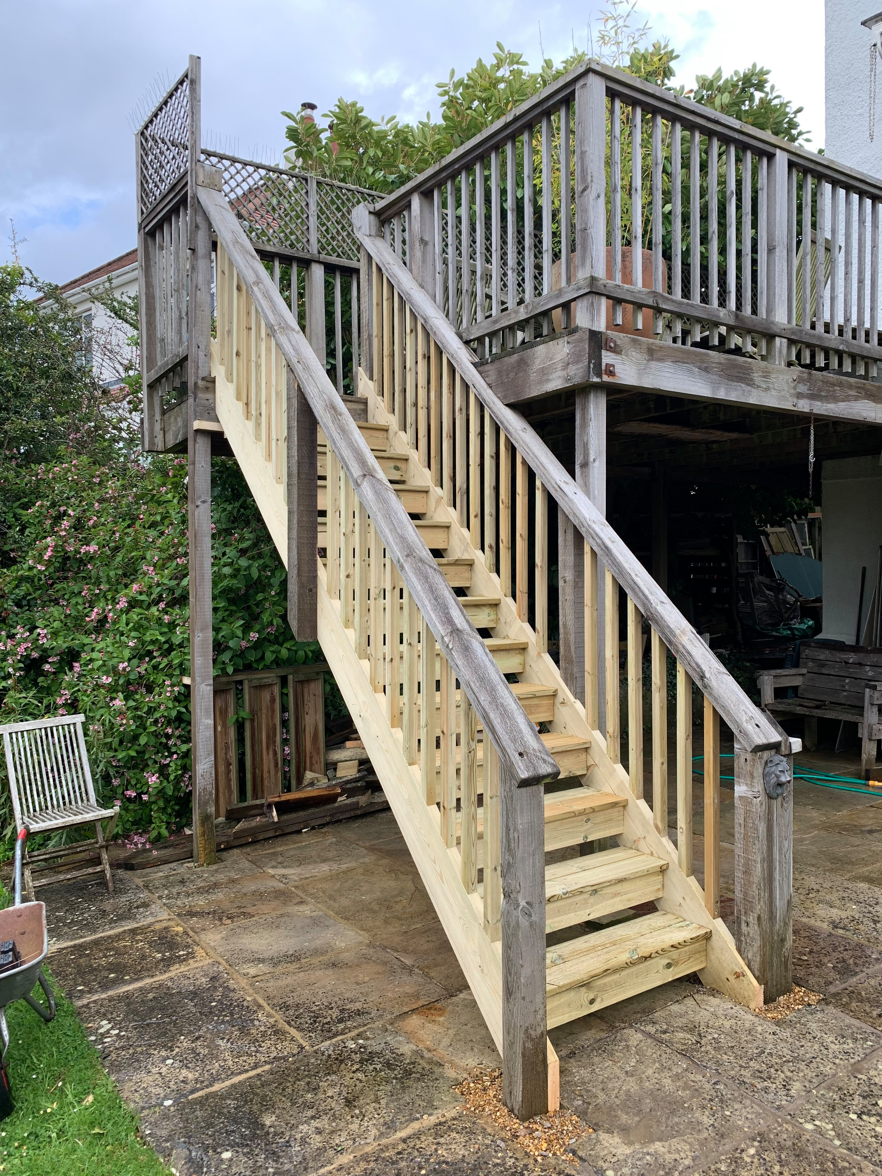 New decked staircase with existing handrails