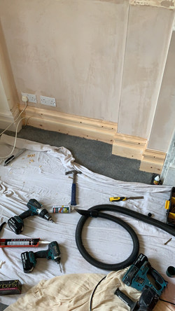 Fitted skirting, which was made to match existing