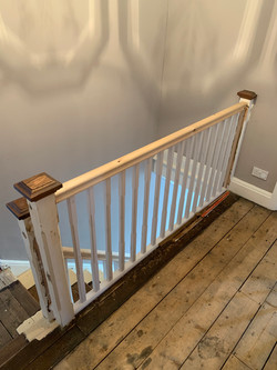 Pine handrail with primed spindles
