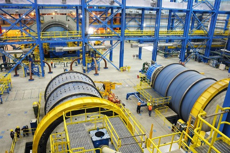(Oyu Tolgoi's concentrator ball mill. (Image from turquoisehill.com)