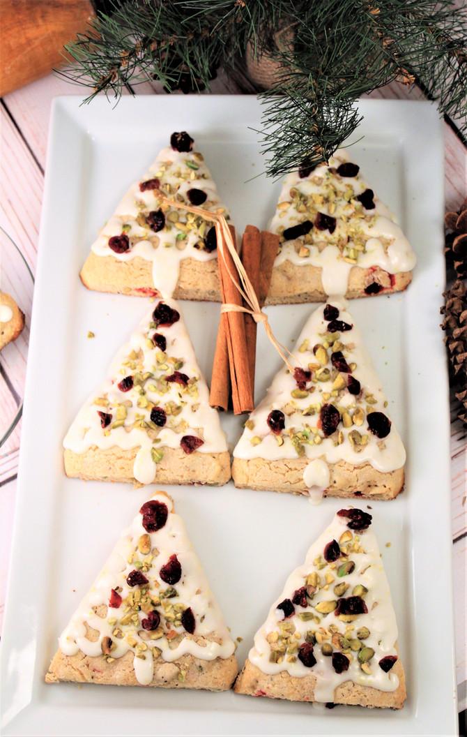 7-Grain Cranberry Pistachio Christmas Tree Scones