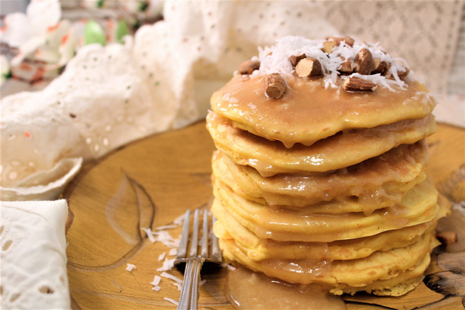 Mom's Day Ultimate Carrot Cake Pancakes with Butter Toffee Sour Cream Syrup