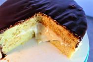 Simple Sponge Cake Boston Cream Pie