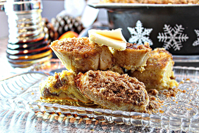 Christmas Eve Spiced Caramel French Toast Casserole