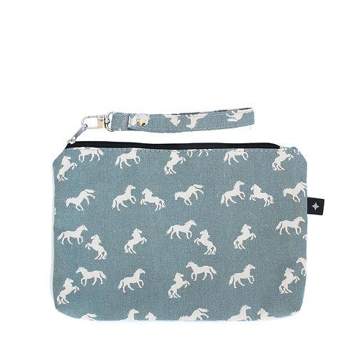 Diaper Clutch | Blue Horses