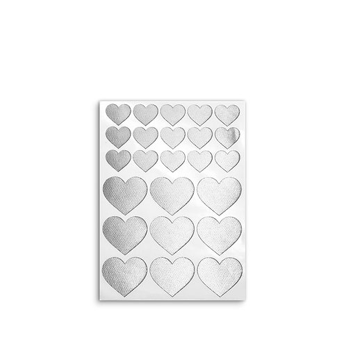 Fabric stickers | Silver Hearts | Designed fabric stickers