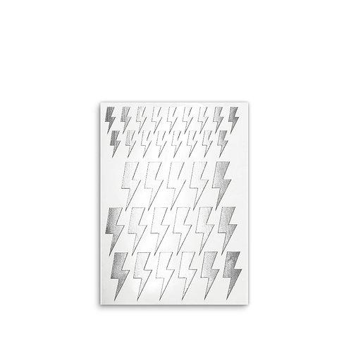 Fabric stickers | Silver Lightning