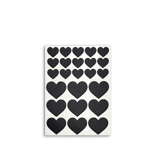 Fabric stickers | Black Hearts | Designed fabric stickers