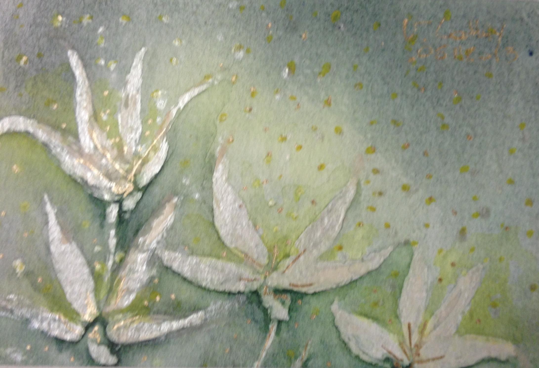 Fleurs, aquarelle et or