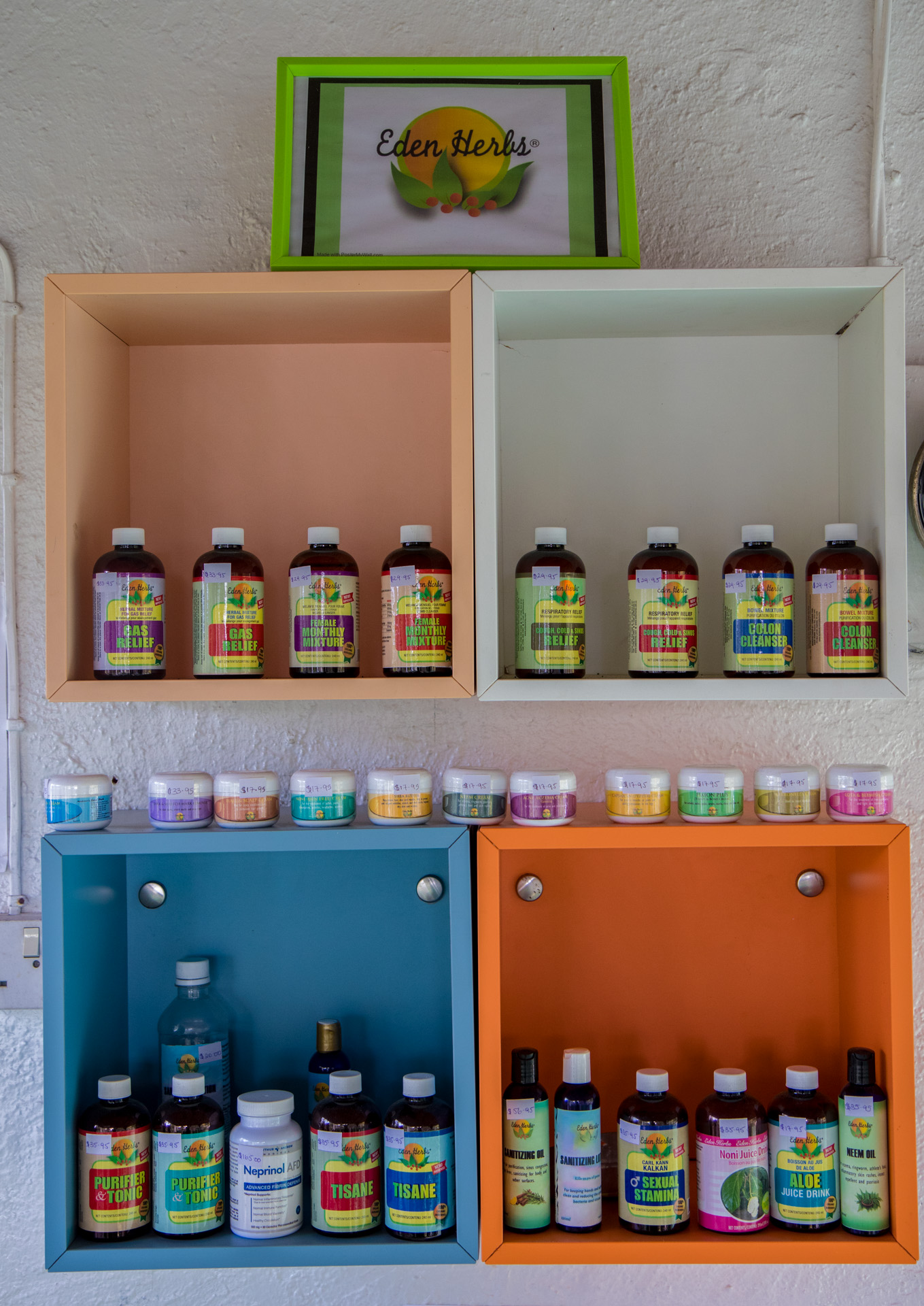 Eden Herbs Product Display Shelf