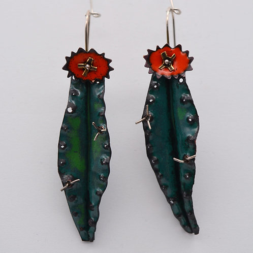 """Cactus Earrings with """"Spines"""""""