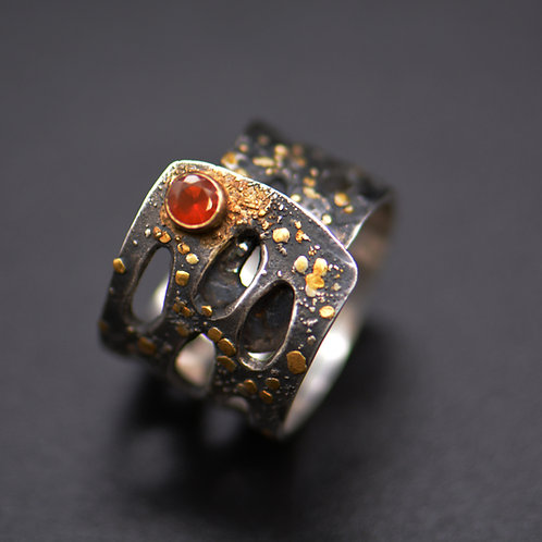 Gold, Silver and Fire Opal Adjustable Ring