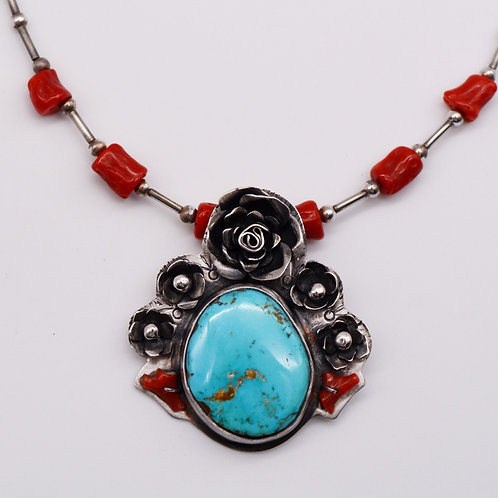 Red Coral and Natural Turquoise Necklace