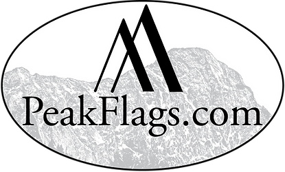 Peak Flags Black on White Oval Capitol L