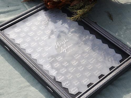 大理石調六角形の結婚証明書