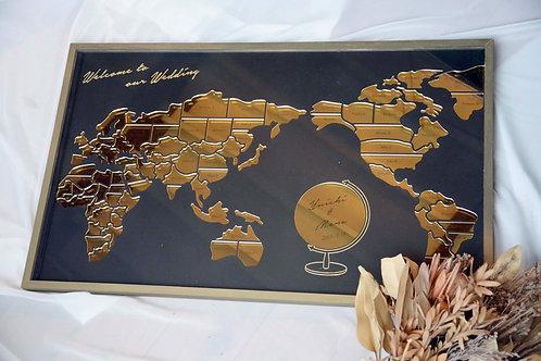 世界地図の結婚証明書