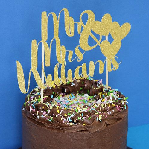 Custom Mr & Mrs Cake Topper