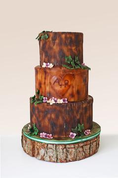 Wooden Log Wedding Cake