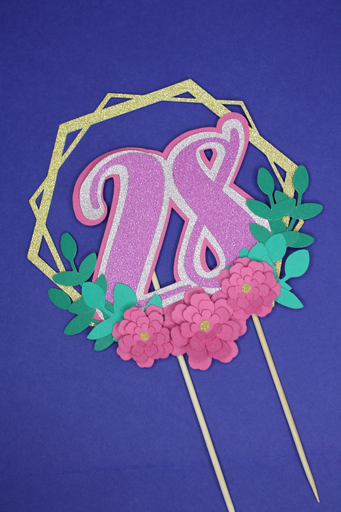 3D Number Cake Topper - Pink & Green