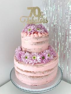 Pink semi naked cake