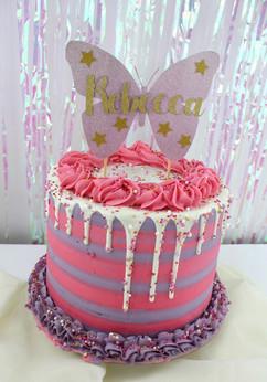 Sprinkle butterfly drip cake