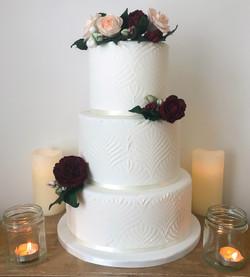White royal iced stencil wedding cake