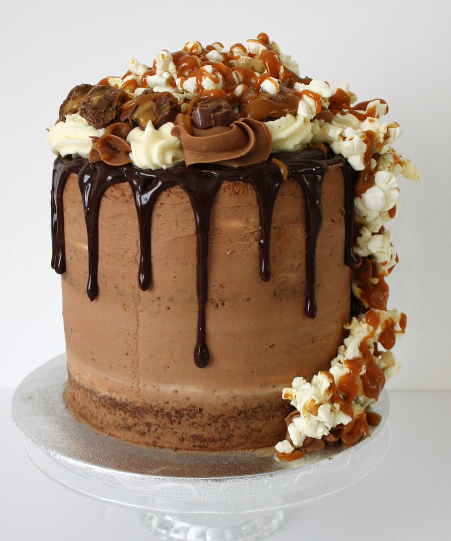 Chocolate, caramel and popcorn drip cake