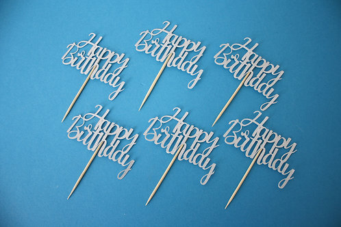 Happy Birthday Cupcake Toppers - Set of 6