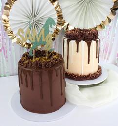 Chocolate drip cake and Rose gold and chocolate drip cake