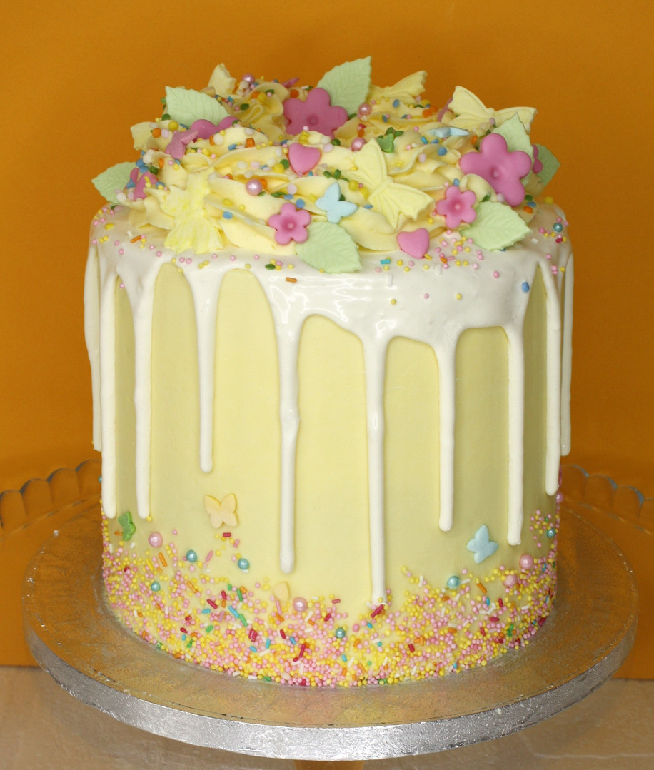 Yellow & white sprinkle cake