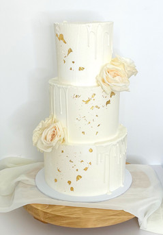 Buttercream Wedding Cake with White Chocolate Drips