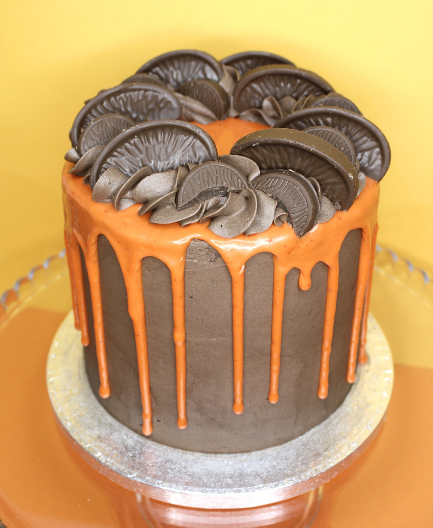 Chocolate orange drip cake