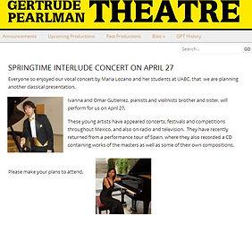 Concierto en Gertrude Pearlman Theatre Omar e Ivanna