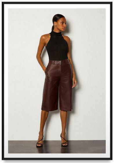 Karen Millen Leather Wide Leg Cropped Trouser, The Lifestyle Guide