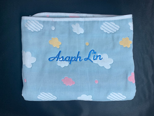 BLUE Coloured Clouds Baby Blanket