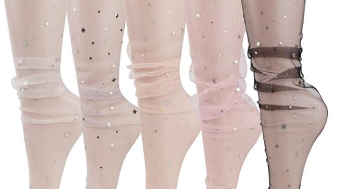 Tulle Fashion Socks, 5 pair