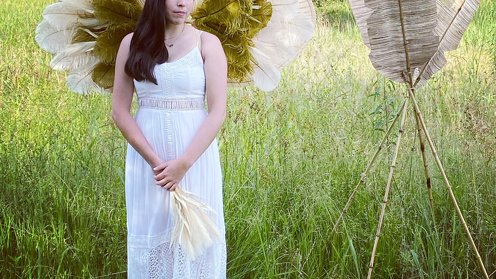 Boho Adult size Couture Angel Wings w/Palm Leaves