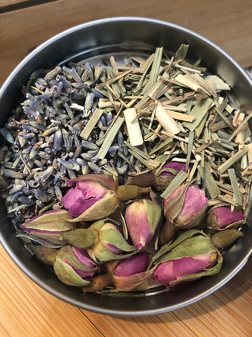 Close up Lavender, Rose, Lemongrass tea blend | Celestial Bliss Holistic